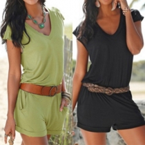 Fashion Solid Color Cap Sleeve V-neck Rompers(Without waistbelt)