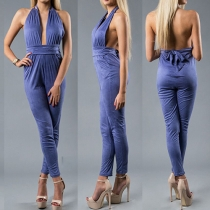 Sexy Backless Solid Color Slim Fit Halter Jumpsuits