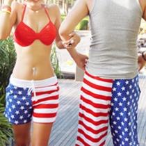 Fashion American Flag Printed Couple Beach Shorts