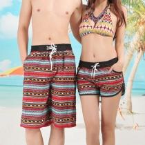 Fashion Printed Elastic Waist Couple Beach Shorts
