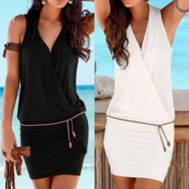Sexy Deep V-neck Sleeveless Solid Color Dress with Waist Strap