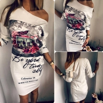 Fashion 3/4 Sleeve Round Neck Printed Dress