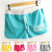 Fashion Contrast Color Letters Printed Sports Shorts