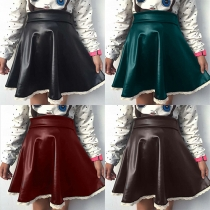 Fashion Lace Spliced Hem High Waist PU Leather Skirt