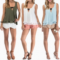 Fashion Solid Color Sleeveless Chiffon Tops
