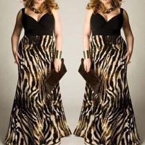 Sexy Deep V-neck Leopard Spliced Oversized Maxi Dress