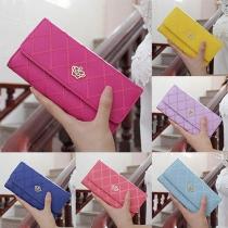 Elegant Solid Color Gold Crown Carving Zipper Wallet For Women
