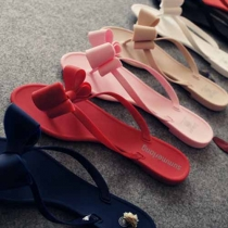 Sweet Bowknot Solid Color Anti-slip Flip Flops