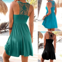 Sexy Backless Hollow Out Lace Spliced Sleeveless Dress