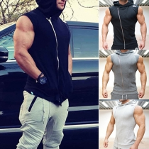 Casual Style Solid Color Sleeveless Hooded Slim-fitting Tops For Men
