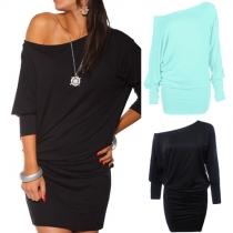 Sexy Solid Color Oblique Shoulder Half Sleeve Loose-fitting Dress