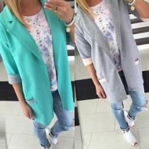 Fashion Contrast Color 3/4 Sleeve 2-side Pockets Blazer