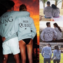 Casual Style Letters Printed Round Neck Long Sleeve Couple Sweatshirt