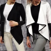 Fashion Leather Spliced Long Sleeve Irregular Little Coat