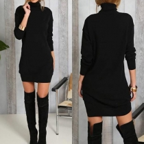 Trendy Solid Color Turtleneck Long Sleeve Slim-fitting Dress(It falls small)