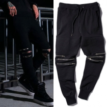 Trendy Solid Color Knee Zipper Drawstring Waist Pants For Men