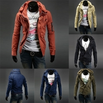 Fashion Solid Color Double Collar Long Sleeve Jacket For Men