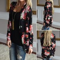 Sweet Floral Printed Long Sleeve Cardigan