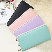 Concise Style Solid Color Letters Printed Wallet For Women