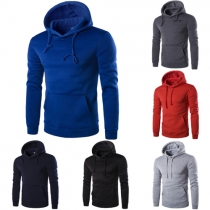 Casual Style Solid Color Front Pocket Hooded Long Sleeve Men's Sweatshirt