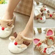 Cute Style Anti-slip Warm Elk Slippers For Women