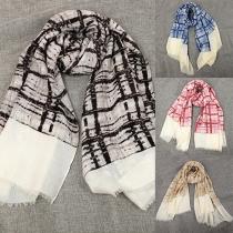 Fashion British Style Plaid All-match Tassel Shawl Scarf