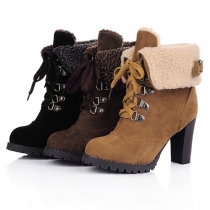 Fashion Round Toe High-heeled Lace-up Martin Boots