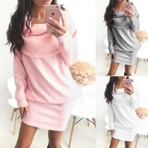Casual Style Solid Color Pile Collar Long Sleeve Dress