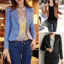 Fashion Solid Color Double-layer Zipper Lapel Long Sleeve Crop Jacket