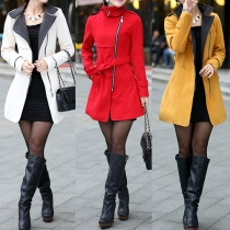 Fashion Long Sleeve Oblique Zipper Stand Collar Woolen Coat with Waist Strap(The size runs small)