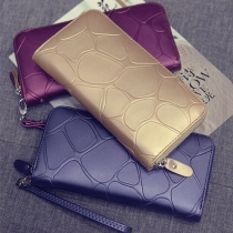 Elegant Solid Color Stone Printed Zipper PU Wallet For Women