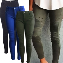 Fashion Solid Color Crinkle Slim Fit Pants For Women