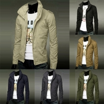 Fashion Solid Color Stand Collar Long Sleeve Slim Fit Men's Jacket