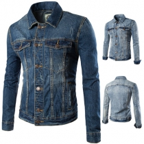 Fashion Lapel Long Sleeve Single-breasted Men's Denim Jacket