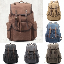 Retro Style Solid Color Hasp Canvas Backpack