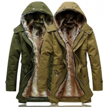 Trendy Solid Color Front Zipper Long Sleeve Hooded Men's Warm Padded Coat