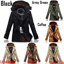 Fashion Solid Color Long Sleeve Hooded Front Zipper Men's Padded Coat