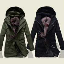Trendy Solid Color Front Zipper Hooded Long Sleeve Men's Warm Padded Coat