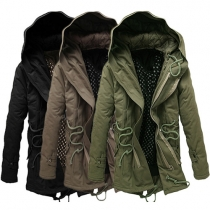 Casual Style Solid Color Double-layer Zipper Long Sleeve Hooded Men's Padded Coat
