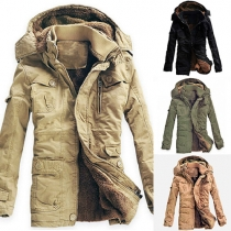Fashion Solid Color Front Zipper Hooded Long Sleeve Padded Coat For Men