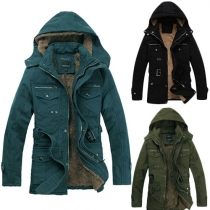 Casual Style Solid Color Long Sleeve Hooded Warm Padded Coat For Men