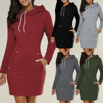 Casual Style Solid Color 2 Side Pockets Long Sleeve Hooded Sweatshirt Dress
