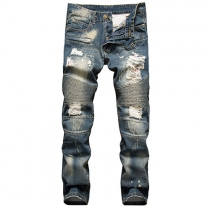 Fashion Zip Fly Crinkle Ripped Slim-fitting Men's Jeans