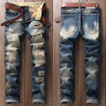Distressed Style 2 Side Pockets Zip Fly Ripped Jeans For Men