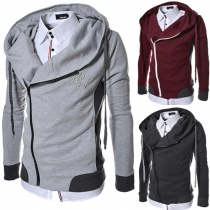 Casual Style Oblique Zipper Hooded Long Sleeve Men's Sweatshirt