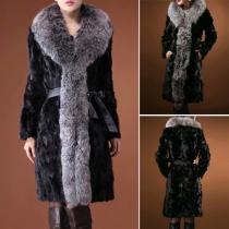 Trendy Fur Collar Long Sleeve Warm Overcoat with Waist Strap