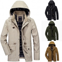 Fashion Solid Color Long Sleeve Hooded Front Zipper Men's Jacket