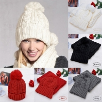 Stylish Solid Color Knitted Hat and Scarf Two-piece Set