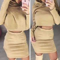 Casual Style Solid Color Turtleneck Long Sleeve Crop Sweatshirt + Skirt Two-piece Set