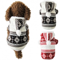 Cute Style Snowflake Printed Single-breasted Hooded Padded Coat For Dogs